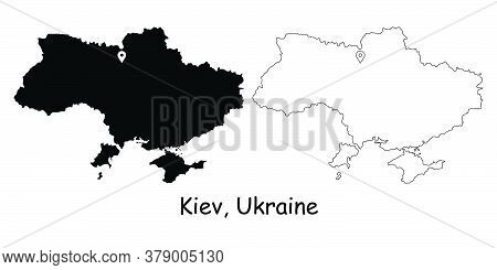 Kiev, Kyiv, Ukraine. Detailed Country Map With Location Pin On Capital City. Black Silhouette And Ou