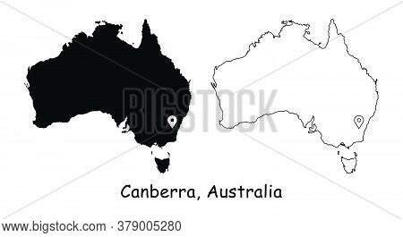 Canberra Australia. Detailed Country Map With Capital City Location Pin. Black Silhouette And Outlin