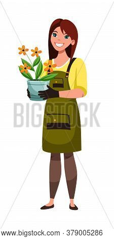 Friendly Smiling Woman Florist Character Wearing Rubber Gloves And Apron Holding Blooming Flower Com