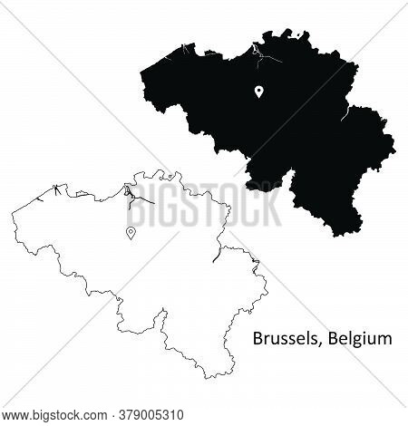Brussels Belgium. Detailed Country Map With Location Pin On Belgian Capital City. Black Silhouette A