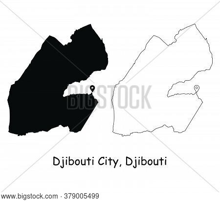 Djibouti City Djibouti. Detailed Country Map With Location Pin On Capital City. Black Silhouette And
