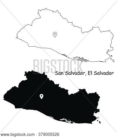 San Salvador El Salvador. Detailed Country Map With Location Pin On Capital City. Black Silhouette A