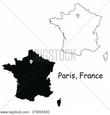 Paris France. Detailed Country Map With Location Pin On Capital City. Black Silhouette And Outline M