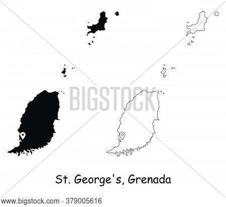 St George's Grenada. Detailed Country Map With Location Pin On Capital City. Black Silhouette And Ou