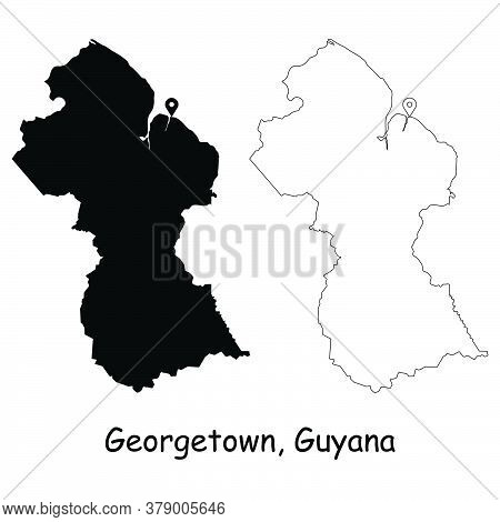 Georgetown Guyana. Detailed Country Map With Location Pin On Capital City. Black Silhouette And Outl