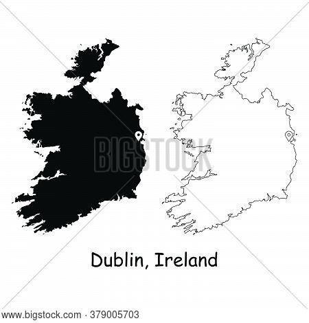 Dublin Ireland. Detailed Country Map With Location Pin On Capital City. Black Silhouette And Outline