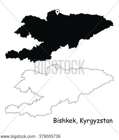 Bishkek Kyrgyzstan. Detailed Country Map With Location Pin On Capital City. Black Silhouette And Out