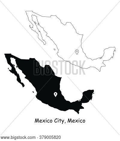 Mexico City, Mexico. Detailed Country Map With Location Pin On Capital City. Black Silhouette And Ou