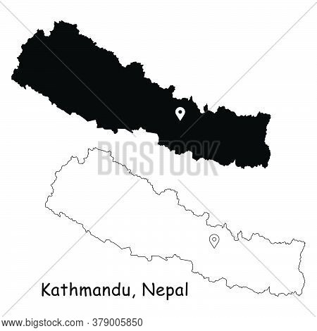 Kathmandu, Federal Democratic Republic Of Nepal. Detailed Country Map With Location Pin On Capital C