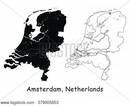 Amsterdam, Netherlands. Detailed Country Map With Location Pin On Capital City. Black Silhouette And