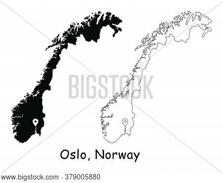 Oslo, Norway. Detailed Country Map With Location Pin On Capital City. Black Silhouette And Outline M