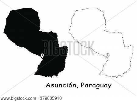 Asuncion, Paraguay. Detailed Country Map With Location Pin On Capital City. Black Silhouette And Out