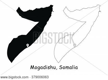 Mogadishu, Federal Republic Of Somalia. Detailed Country Map With Location Pin On Capital City. Blac