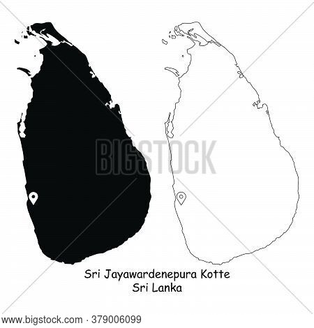 Sri Jayawardenepura Kotte, Sri Lanka. Detailed Country Map With Location Pin On Capital City. Black
