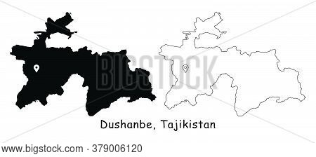 Dushanbe, Tajikistan. Detailed Country Map With Location Pin On Capital City. Black Silhouette And O