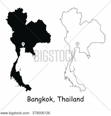 Bangkok, Thailand. Detailed Country Map With Location Pin On Capital City. Black Silhouette And Outl
