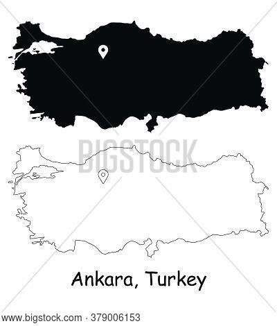 Ankara, Turkey. Detailed Country Map With Location Pin On Capital City. Black Silhouette And Outline