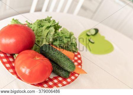 Fresh Vegetables On The White Background.