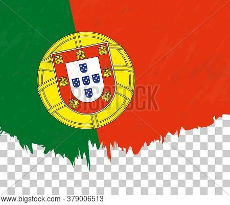Grunge-style Flag Of Portugal On A Transparent Background. Vector Textured Flag Of Portugal For Vert