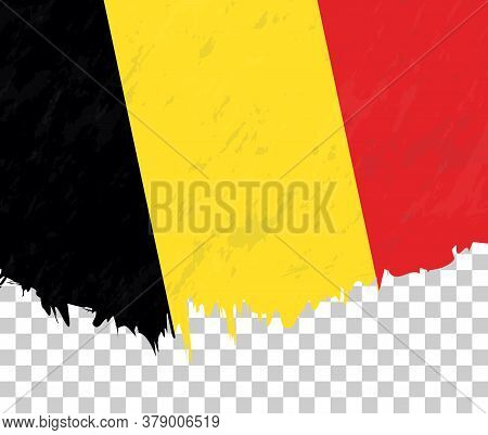 Grunge-style Flag Of Belgium On A Transparent Background. Vector Textured Flag Of Belgium For Vertic