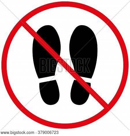Do Not Walk Or Stand Here. Warning Label, Danger Sign. Logo Style. The Concept Of Social Distancing