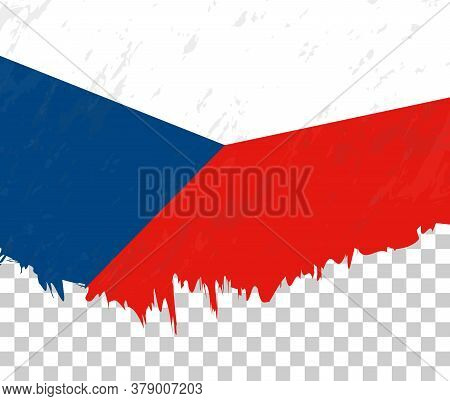 Grunge-style Flag Of Czech Republic On A Transparent Background. Vector Textured Flag Of Czech Repub