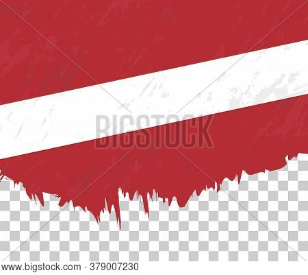 Grunge-style Flag Of Latvia On A Transparent Background. Vector Textured Flag Of Latvia For Vertical