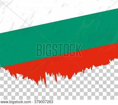 Grunge-style Flag Of Bulgaria On A Transparent Background. Vector Textured Flag Of Bulgaria For Vert