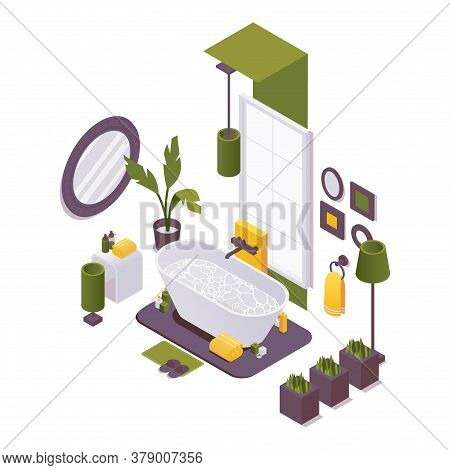 Isometric Bathroom With A Bathtub, Plumbing Fixtures And Bathroom Accessories For Home, Hotel, Villa
