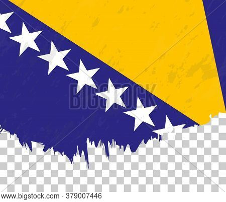Grunge-style Flag Of Bosnia And Herzegovina On A Transparent Background. Vector Textured Flag Of Bos