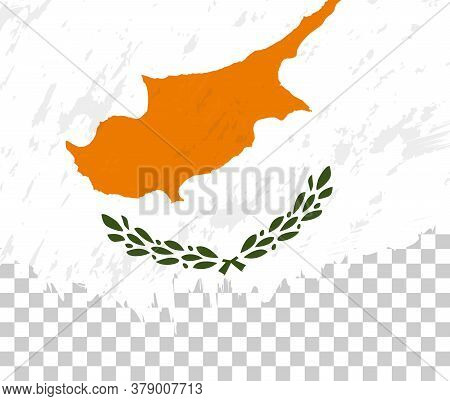 Grunge-style Flag Of Cyprus On A Transparent Background. Vector Textured Flag Of Cyprus For Vertical
