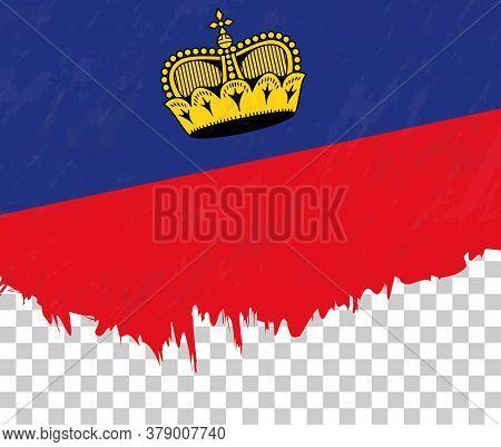 Grunge-style Flag Of Liechtenstein On A Transparent Background. Vector Textured Flag Of Liechtenstei