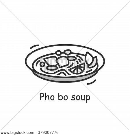 Chinese Style Soup Icon. Hot And Sour Pork Broth Stew Plate Linear Pictogram. Concept Of Rich Asian