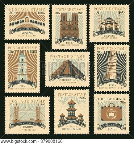 Set Of Postage Stamps On The Travel Theme With Various Architectural And Historical Attractions From