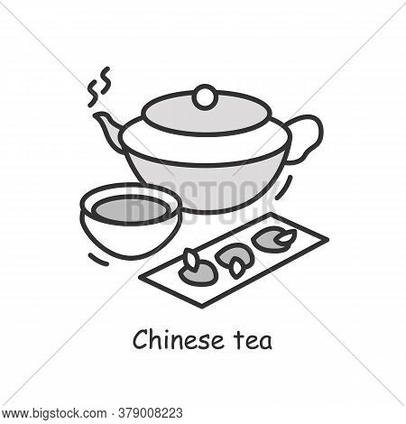 Chinese Tea Icon. Hot Steaming Green Tea Teapot With Cup And Traditional Sweets Line Pictogram. Asia