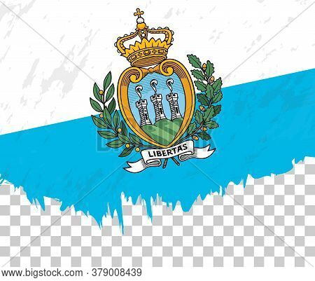 Grunge-style Flag Of San Marino On A Transparent Background. Vector Textured Flag Of San Marino For