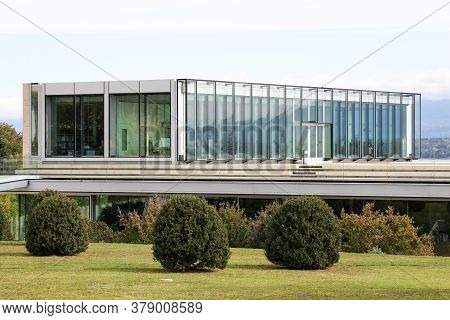 Nyon, Switzerland - October 1, 2017: Uefa Building And Headquarters In Nyon. Uefa Is The Administrat