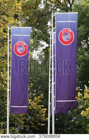 Nyon, Switzerland - October 1, 2017: Uefa Flags. Uefa Is The Administrative Body For Association Foo
