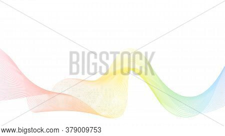 Abstract Rainbow Vector Background With Pastel Multicolored Dynamic Wave. Geometric Abstract Wavy Li
