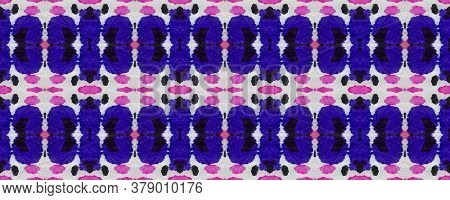 Blue, Red, Beige Morocco Retro Texture. Summer Mosaic Background. Geo Portugese Ikat Rapport. Waterc