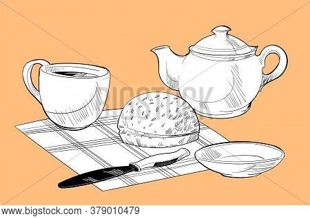 Setting The Table For Breakfast Of Three Items And A Bun