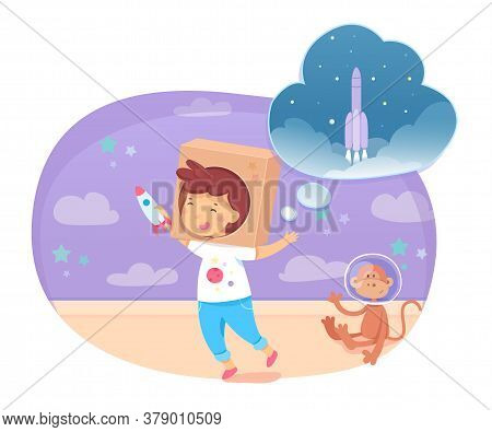 Happy Boy Playing And Dreaming Being Astronaut. Smiling Cute Funny Child Wearing Cardboard Box On He