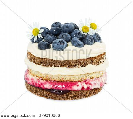 Cheesecake With Fresh Blueberries And Blueberry Jam Isolated On White Background.