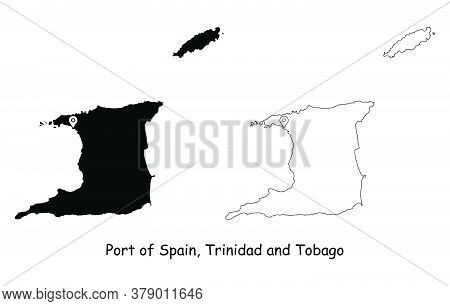 Port Of Spain, Trinidad And Tobago. Detailed Country Map With Location Pin On Capital City. Black Si