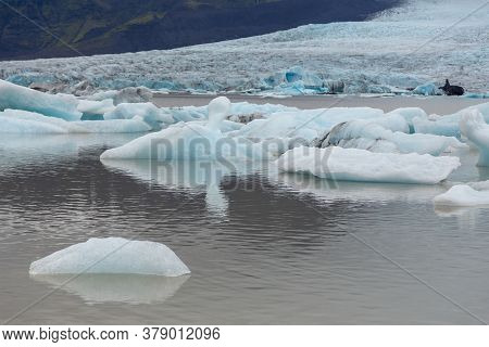 View Of The Fjallsorlon Glacial Lagoon, Southern Vatnajakull Glacier. Vatnajokull National Park, Ice