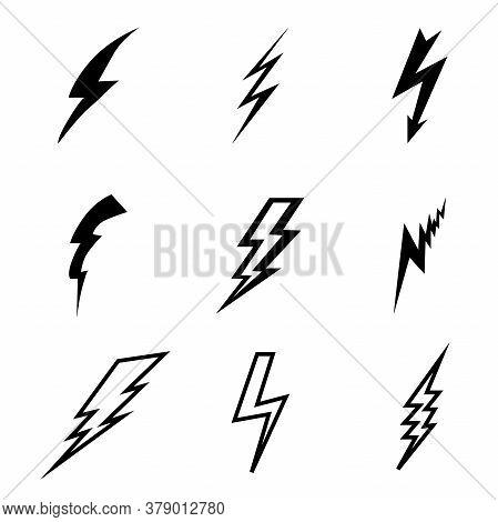 Thunderbolt, Lightning Strike Sign. Black Thunder Icons On A White Background. Set Of Black Thunder