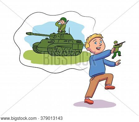 Vector Character Kid Playing Games And Dreaming. Little Boy Playing Toy Soldier And Imagines Himself