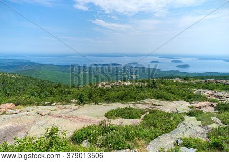 View Of Bar Harbor From Cadillac Mountain In Acadia National Park