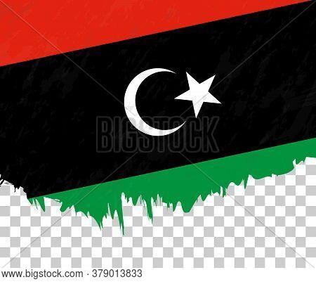 Grunge-style Flag Of Libya On A Transparent Background. Vector Textured Flag Of Libya For Vertical D