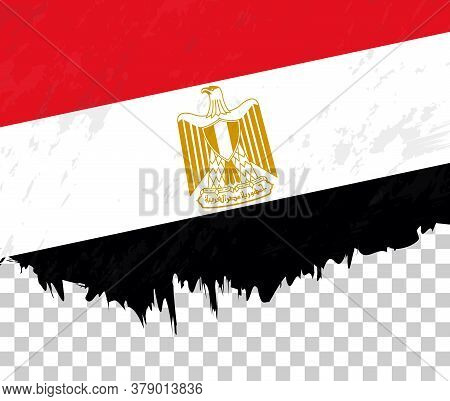 Grunge-style Flag Of Egypt On A Transparent Background. Vector Textured Flag Of Egypt For Vertical D